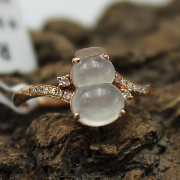 缅甸天然a货翡翠 真钻镶嵌 冰种葫芦戒指