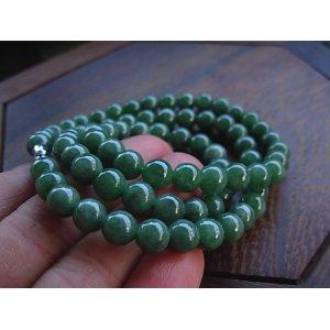 A货翡翠天然玉石满绿圆珠项链