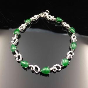 缅甸天然A货翡翠 满绿水滴手链