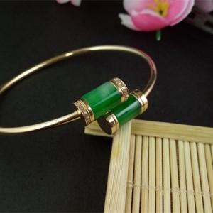 缅甸天然A货翡翠 免费领钱100元微信红包阳绿玉柱手镯