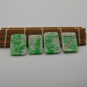 糯种白底绿瑞兽牌翡翠挂件四件