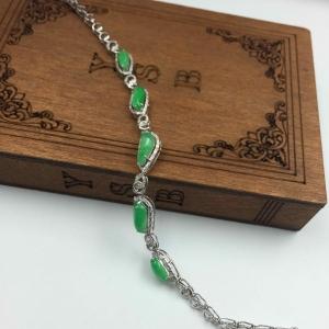 缅甸天然A货翡翠 18K镶嵌满绿随型手链