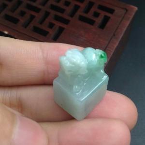 缅甸天然翡翠 糯绿貔貅印章