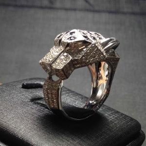卡地亚系列经典奢华满钻猎豹戒指